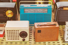 Old radio`s for sale on a flee market Royalty Free Stock Image