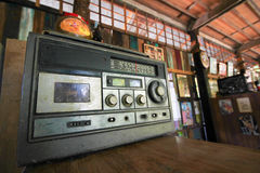 Old radio. Style, tape cassette player Stock Images