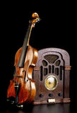 Old Radio and Violin. Royalty Free Stock Photo