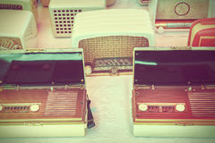 Old radio's for sale on a flee market Royalty Free Stock Photo