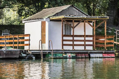 Old Floating Weekend Wooden Raft Hut On Sava River - Belgrade - Serbia Stock Image