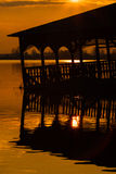 Old raft restaurant silhouette Royalty Free Stock Image