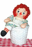 Old rag doll in basket Stock Images