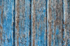 Old ragged blue painted wooden background Royalty Free Stock Photos