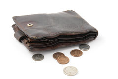 Old ragged purse Stock Images