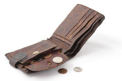 Old ragged purse wit cent coins Stock Images