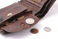 Old ragged purse wit coins Stock Photo