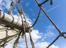 Old ragged sailing rigging an ancient sailing Stock Photo
