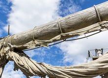 Old ragged sailing rigging an ancient sailing Royalty Free Stock Photos