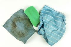 Old rags and sponge on white background. Top view Stock Photography