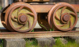 Old rail car wheels Royalty Free Stock Photos