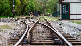 Old rail road perspective view. Royalty Free Stock Photo