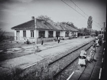 Old rail station. Black and white image with Radomiresti rail station who is a local rail station in Olt county Stock Photos