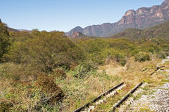 Old rail track in Sierra Madre mountains Stock Images
