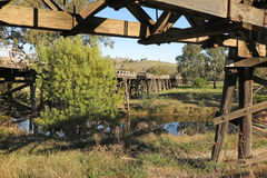 Old rail and vehicle bridges. Disused bridges at the country town Gundagai, New South Wales, Australia Royalty Free Stock Image