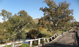 Old rail and vehicle bridges. Disused bridges at the country town Gundagai, New South Wales, Australia Royalty Free Stock Photo