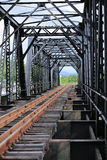 Old rail way bridge, Rail way construction in the country, Journey way for travel by train to any where. Stock Images