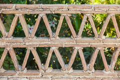 Old railings made of clay blocks. Old balcony railings made of clay blocks, Greek style architecture details, front view Stock Photography