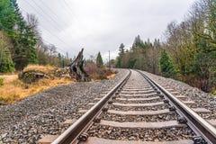 Old railroad in autumn season. Stock Photo