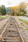 Old railroad in autumn season,mt Rainier National park area,Elbe Stock Photo