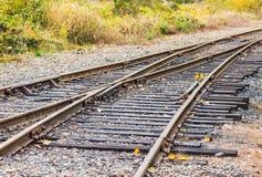 Old railroad in autumn season,mt Rainier National park area,Elbe,Washington,usa.. Royalty Free Stock Photo