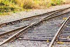 Old railroad in autumn season,mt Rainier National park area,Elbe,Washington,usa.. Stock Photos