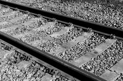 Old railroad in black and white Royalty Free Stock Photo