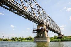 Old railroad bridge across the Dniester near Ribnita, Moldova Stock Image