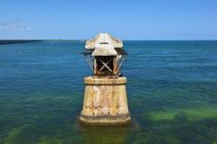 Old Railroad Bridge between the Florida Keys Royalty Free Stock Images