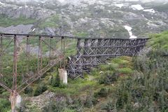Old railroad bridge infront of snowy mountains royalty free stock images