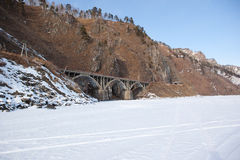 Old railroad bridge near Lake Baikal Stock Photography
