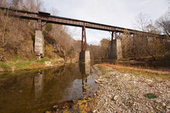 Old railroad bridge over a creek Royalty Free Stock Photography