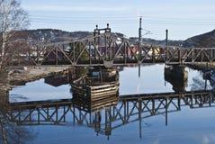 Old railroad bridge rotating. Royalty Free Stock Image