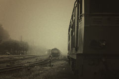 Old railroad with locomotive on black & white Royalty Free Stock Photography