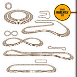 Old railroad loop set. Old railroad loop set, railway track, perspective, curve and turn design element collection, transportation vector illustration. Looped royalty free illustration