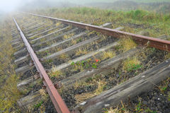 Old railroad in the morning fog. Old rusty railroad vanishing in the morning fog Stock Image