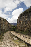 Old railroad between mountains. In a daytime Royalty Free Stock Images