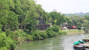 Old railroad near Kwai river in Thailand stock footage