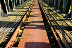 Old railroad on the  bridge Stock Images