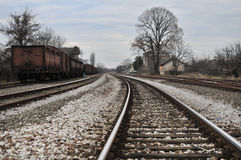 Old Railroad Station. With abandoned wagons Stock Photo