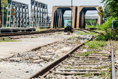 Old railroad track with the bridges. In urban area Royalty Free Stock Photography