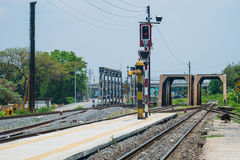 Old railroad track with the bridges. In urban area Stock Images