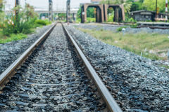 Old railroad track with the bridges. In urban area Royalty Free Stock Photo