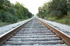 Old railroad track. Looking down old railroad track in Texas royalty free stock images