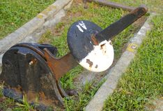 Old railroad track switch closeup Royalty Free Stock Photography