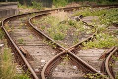 Old railroad tracks stock images