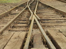 The old railroad tracks royalty free stock photo
