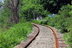 Old Railroad Tracks. Run through a wooded area with lush green foliage royalty free stock photo