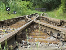 Old railroad tracks - terminus Stock Photography