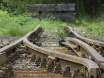 Old railroad tracks - terminus Royalty Free Stock Image